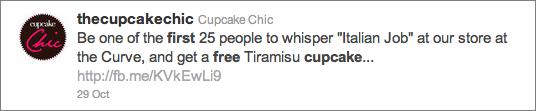 2010-10-31 Cupcake Chic free cupcake