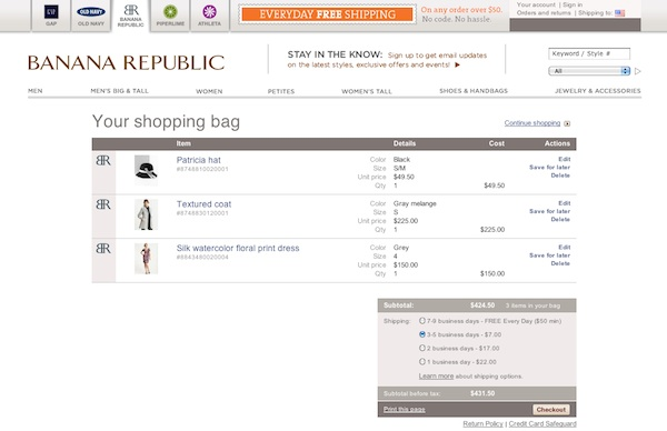 Banana Republic shopping cart