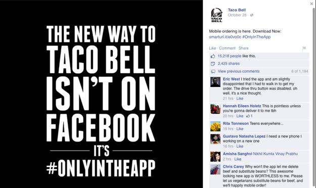 Taco Bell Facebook