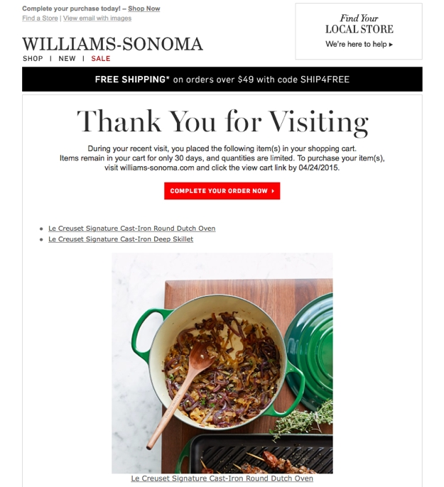 williams sonoma abandoned cart second