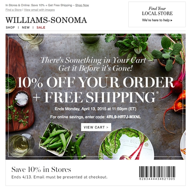 williams sonoma abandoned cart